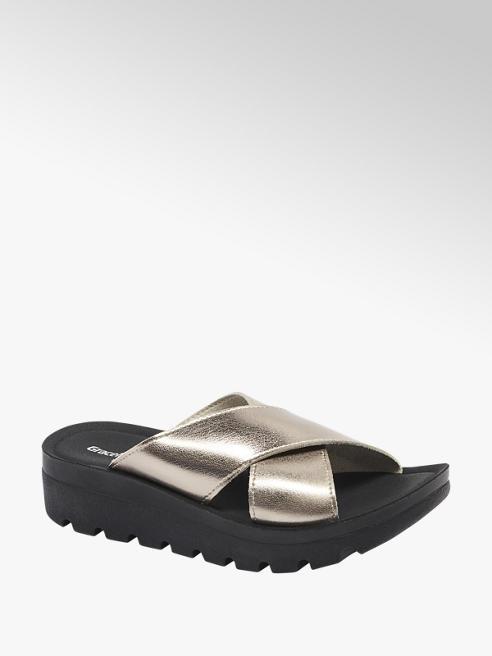 Graceland metaliczne klapki damskie Graceland na czarnej podeszwie