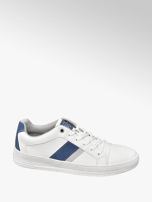 Venice Mens Venice White/ Navy Lace-up Trainers