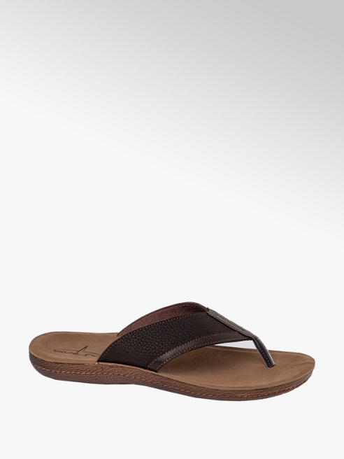Blue Fin Mens Blue Fin Brown Toe-Post Flip Flops