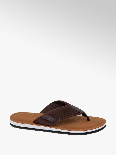 Blue Fin Mens Blue Fin Brown Toe-Post Flip Flops