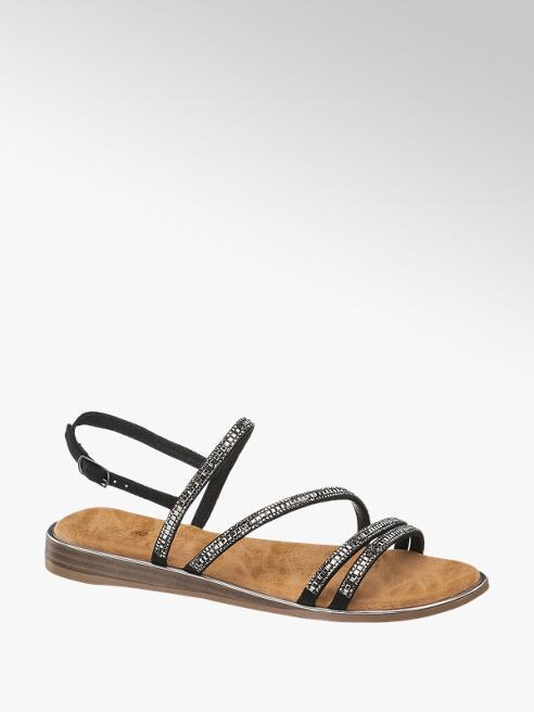 Graceland Zwarte sandaal strass