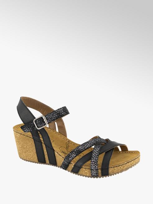 5th Avenue Zwarte leren sandalette