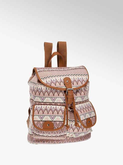 Graceland Tan Aztec Print Canvas Backpack