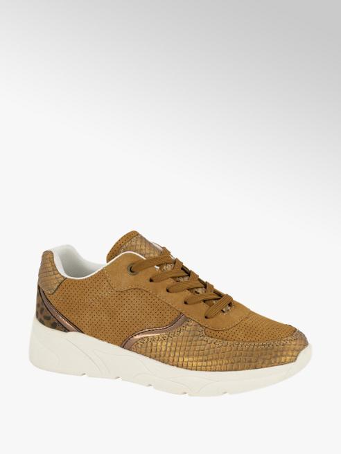 Graceland Cognac chunky sneaker panterprint