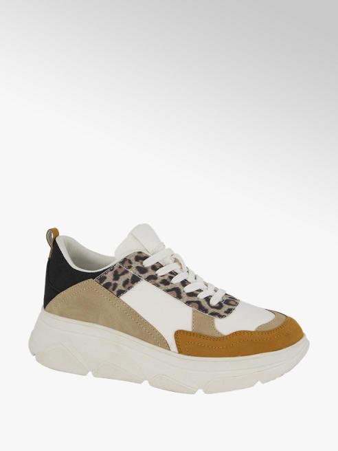 Graceland Witte chunky sneaker panterprint