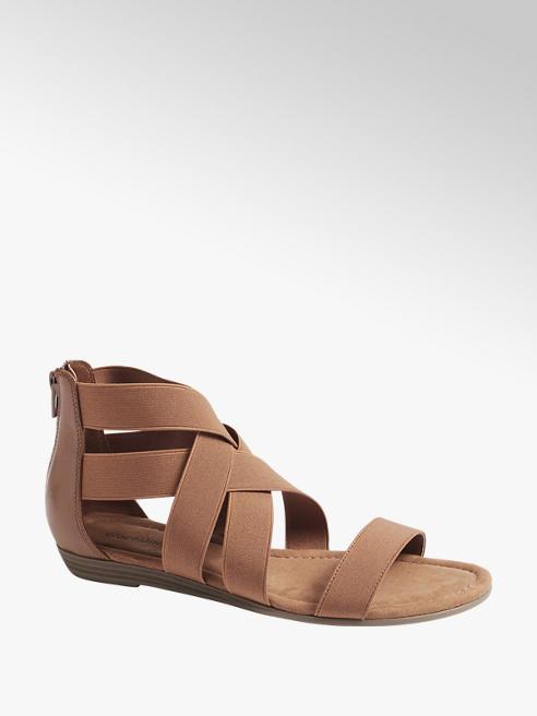 Graceland Cognac sandaal elastisch