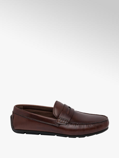 AM SHOE Mens AM Shoe Brown Leather Formal Slip-on Shoes