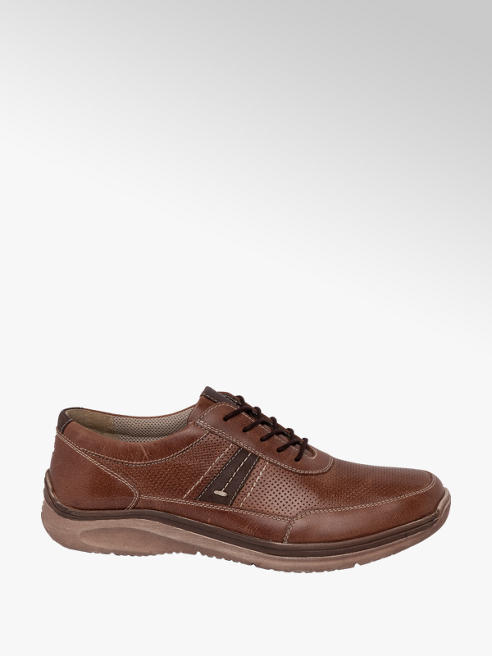 Easy Street Mens Easy Street Borwn Leather Casual Lace-up Shoes