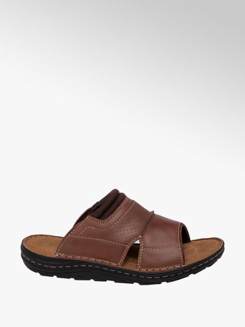 Tredflex Mens Tredflex Leather Tan Slides