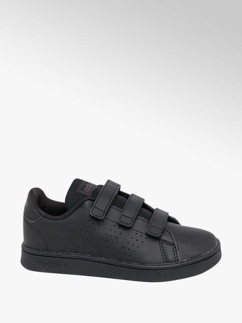 adidas Junior Adidas Advantage Black Touch Strap Trainers