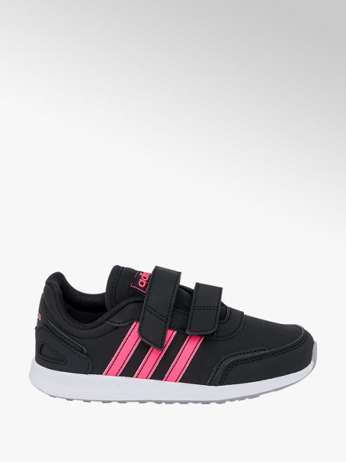 adidas Junior Girls Adidas VS Switch Black/ Pink Touch Strap Trainers