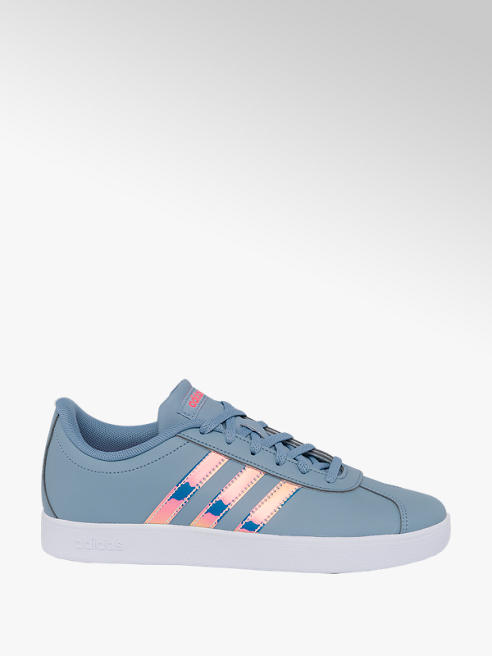 adidas Teen Girls Adidas VL Court Blue/ Holographic Lace-up Trainers