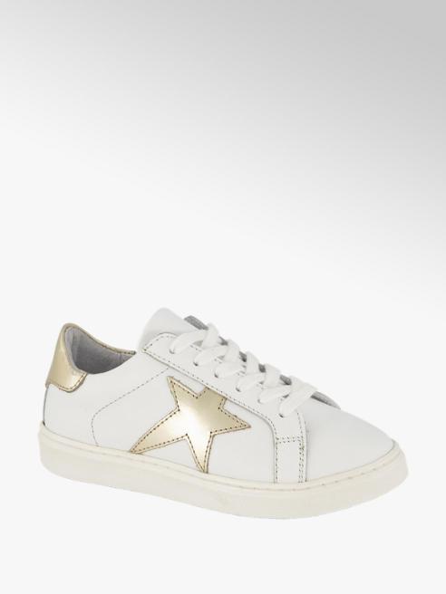 Graceland Witte leren sneaker metallic
