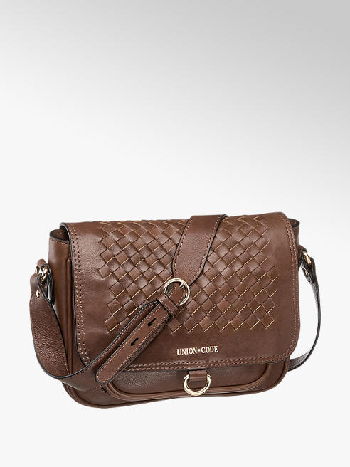 5th Avenue Brown Leather Woven Cross Body
