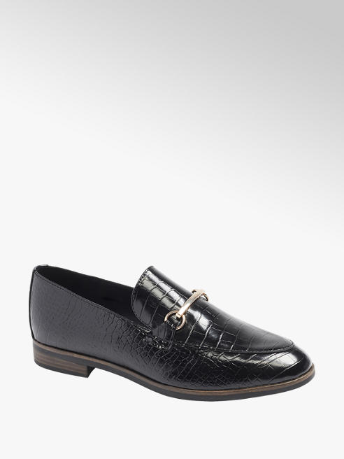 Graceland Zwarte loafer crocoprint