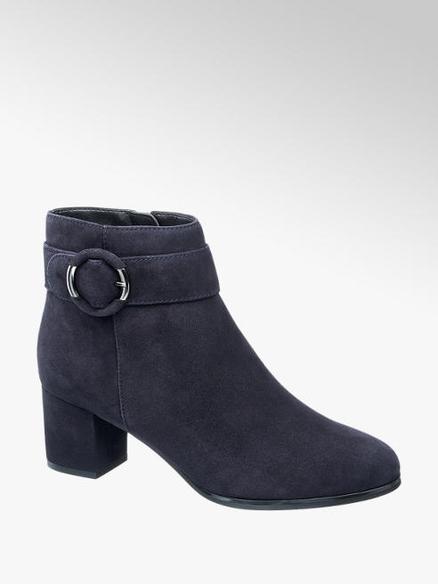 5th Avenue Navy Blue Leather Heeled Ankle Boots