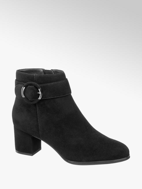 5th Avenue Black Leather Ankle Boots