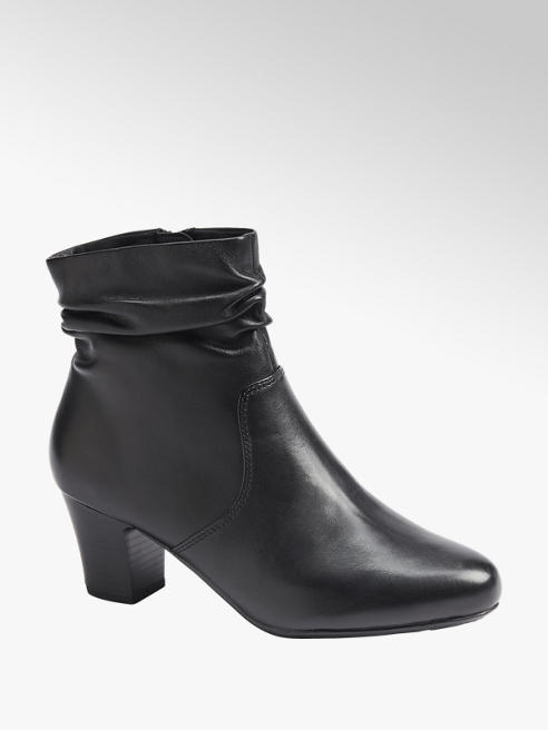 5th Avenue Black Ruched Leather Ankle Boots