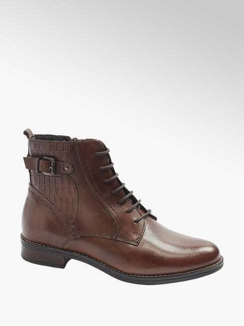 5th Avenue Dark Brown Croc Leather Ankle Boots