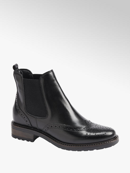 5th Avenue Zwarte leren chelsea boot brogue