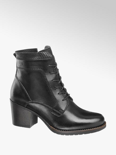 5th Avenue Black Leather Heeled Lace Up Ankle Boots