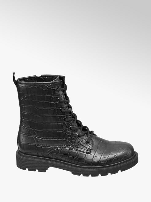 Oxmox zwarte veterboot crocoprint