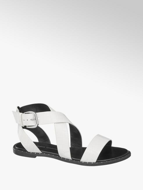Claudia Ghizzani białe sandały damskie Claudia Ghizzani na czarnej podeszwie