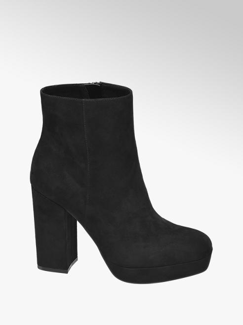 Catwalk Black Faux Suede Platform Heeled Boots