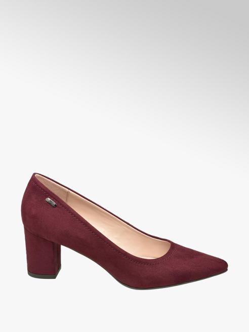 Esprit Dark Red Block Heel Courts