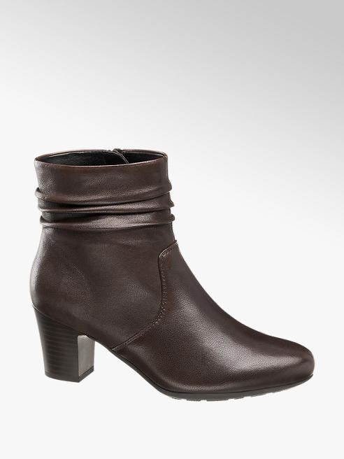 5th Avenue Brown Leather Heeled Ankle Boots