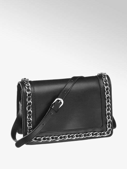 Graceland czarna torebka damska Graceland ozdobiona łańcuszkiem