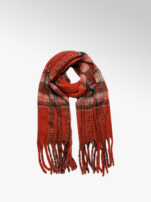 Red Check Print Scarf