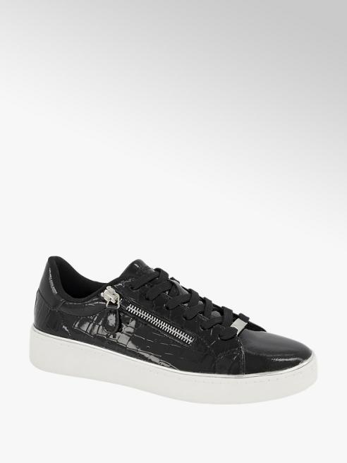 Graceland Zwarte lak sneaker crocoprint