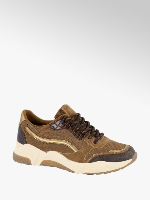 Graceland Bruine sneaker crocoprint