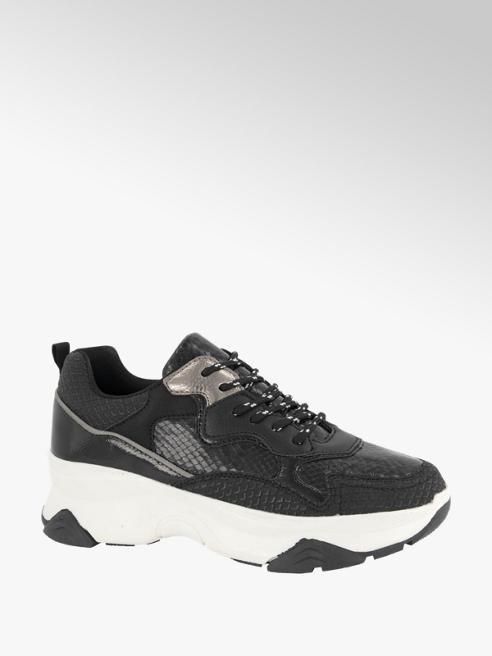 Oxmox Zwarte chunky sneaker crocoprint
