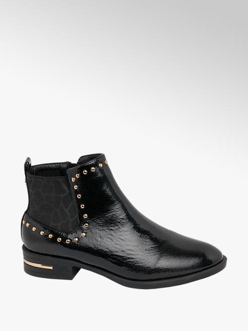 Lotus Patent Black Studded Chelsea Boots