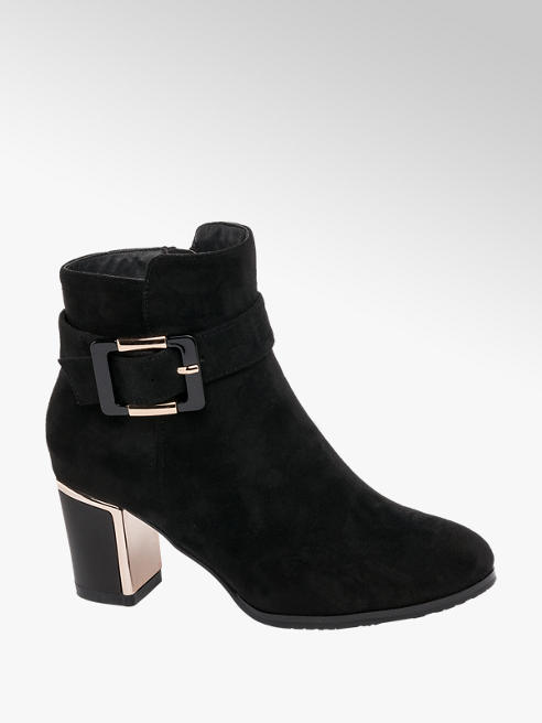 Lotus Black High Heeled Ankle Boots