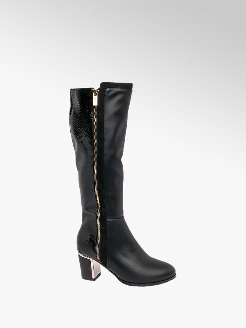 Lotus Black Heeled Long Leg Boots
