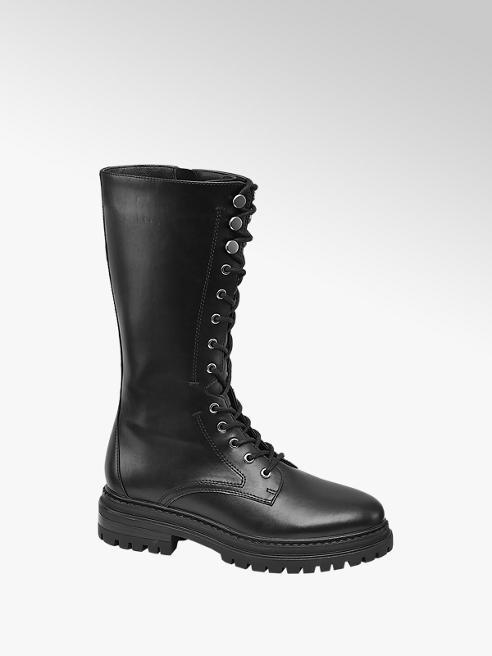 Catwalk Black Lace Up Long Leg Boots