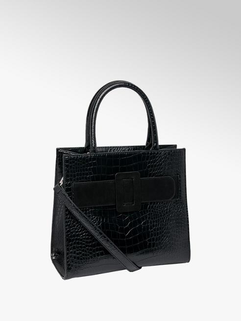 Graceland Black Croc Tote Handbag