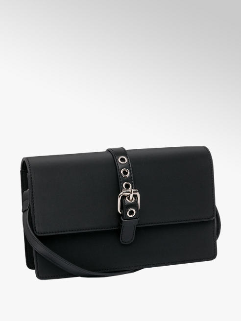 Graceland Black Buckle Detail Cross Body Bag