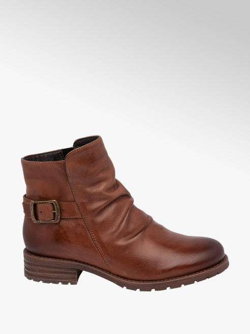 5th Avenue Brown Leather Ankle Boots