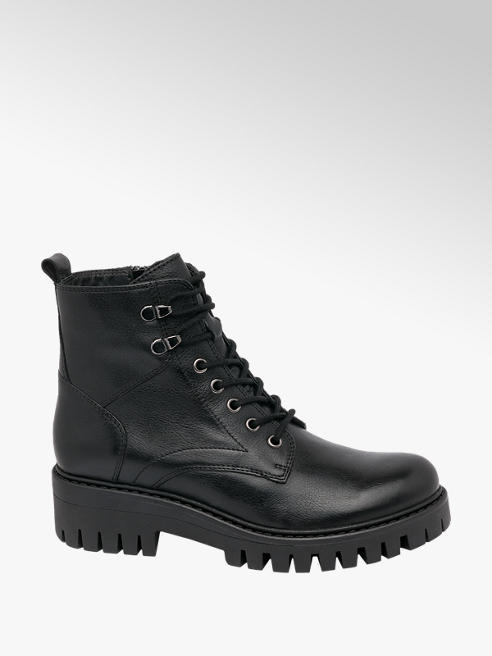 5th Avenue Black Lace Up Leather Ankle Boots