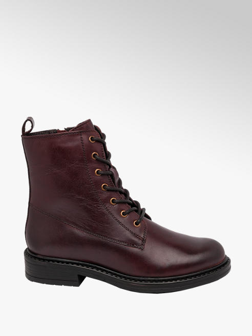 5th Avenue Burgundy Lace Up Leather Ankle Boots