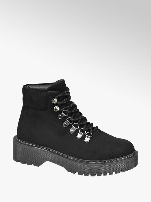 Graceland Black Lace Up Hiker Boots