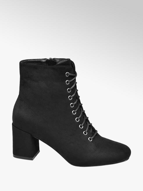 Graceland Black Lace Up Heeled Ankle Boots