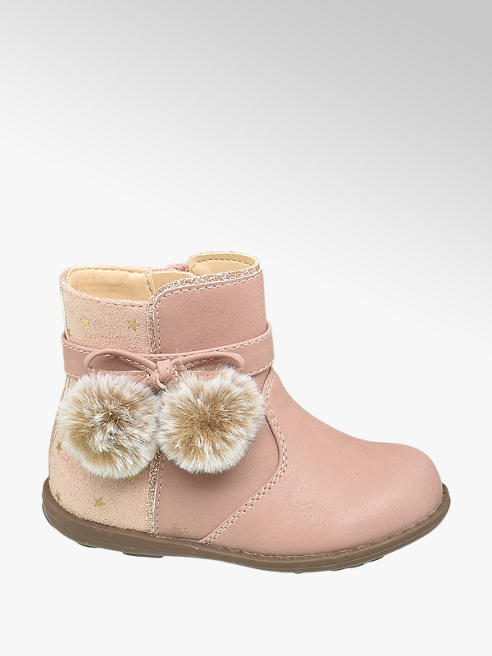 Cupcake Couture Toddler Girl Star Print & Faux Fur Pom Pom Detail Ankle Boots