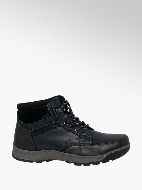 Hush Puppies Mens Hush Puppies Grover Black Leather Lace-up Boots