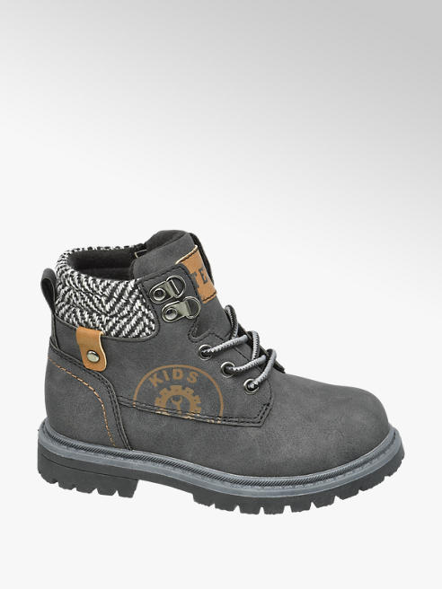 Bobbi-Shoes Donkergrijze veterboot