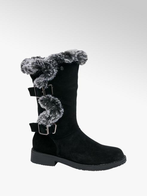 Hush Puppies Black Suede Fur Detail Boots